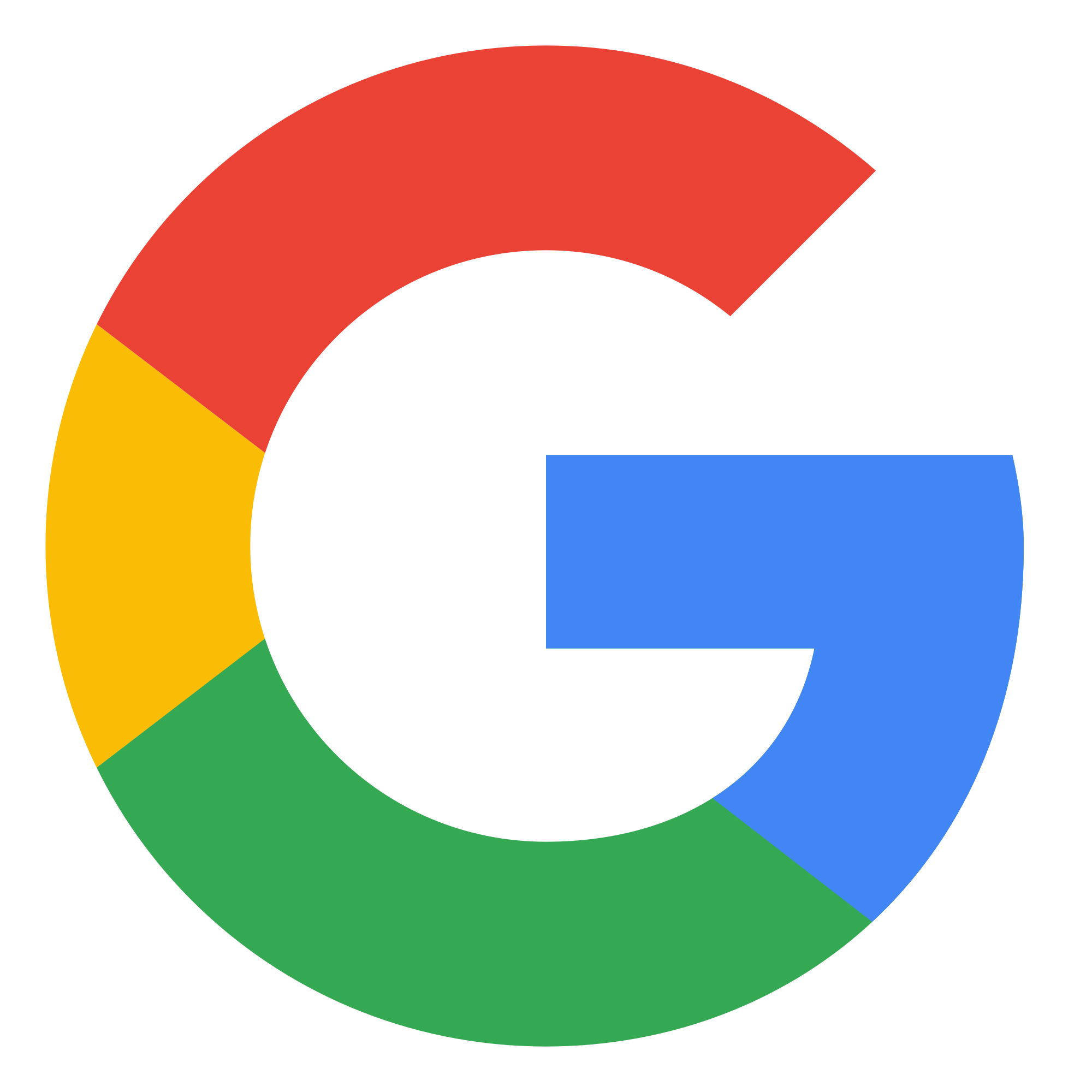 Google icon in four colors, red, yellow, green, and blue